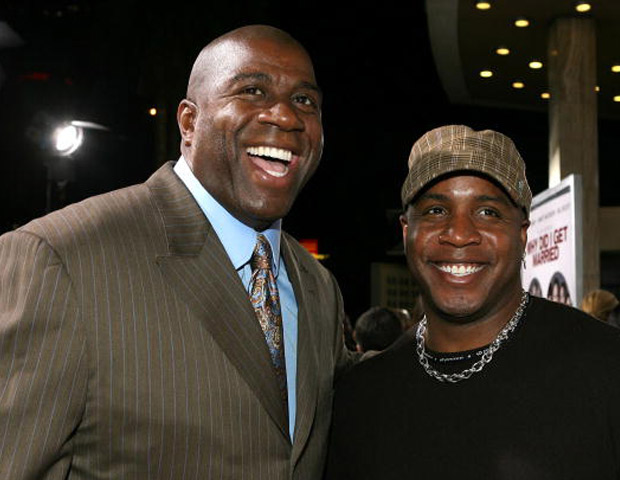 Johnson with MLB star Barry Bonds (Image: Getty)