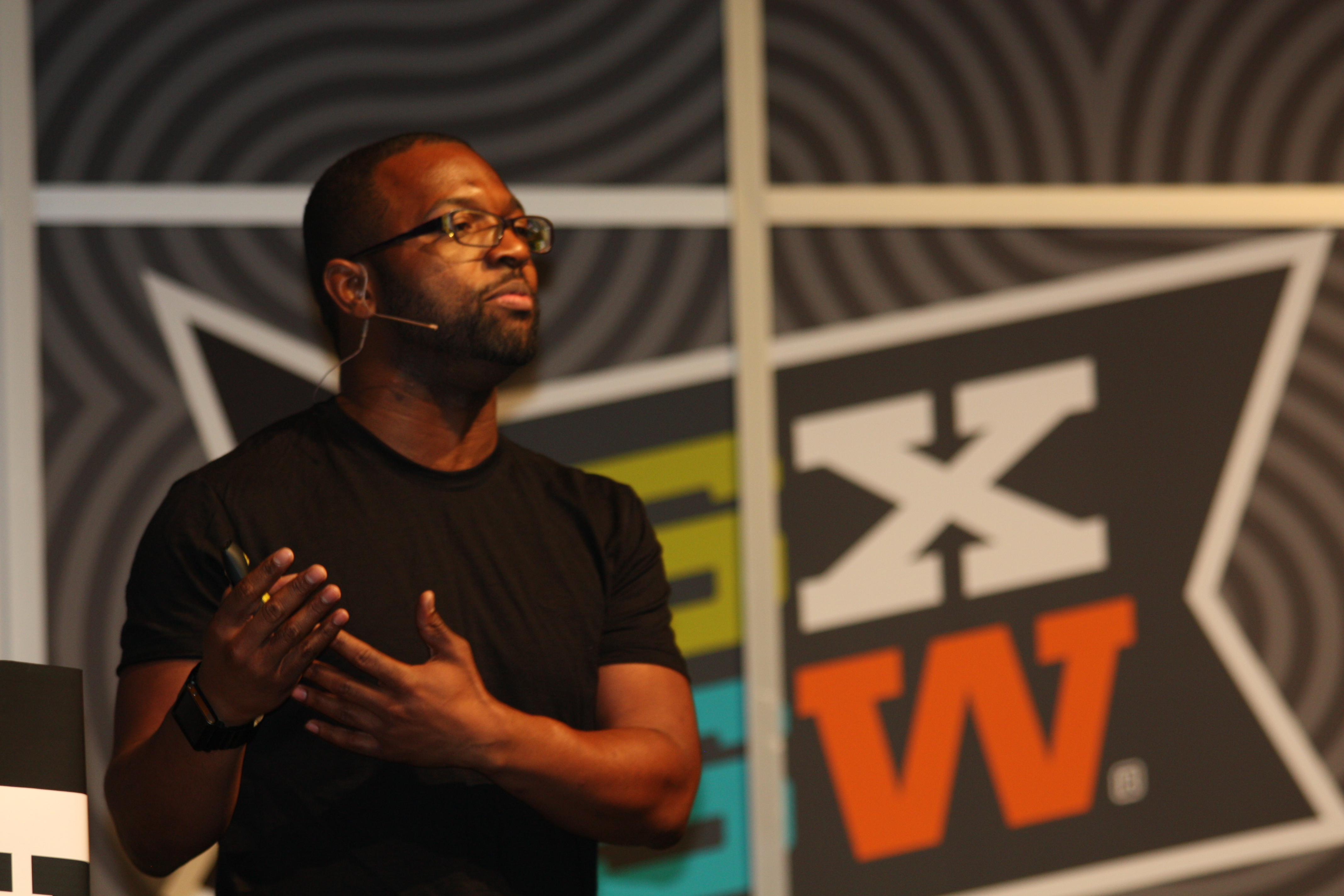 How to Be Black author Baratunde Thurston delivers the keynote address at SXSW (Image: Mary Pryor)