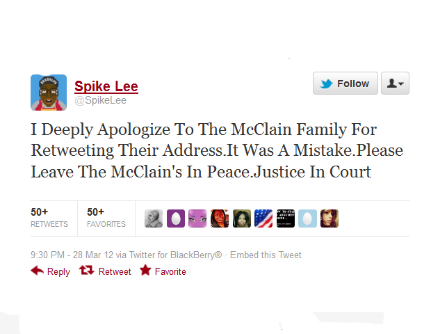 "7. Famously outspoken activist and filmmaker Spike Lee, who has publicly expressed outrage at the death of Martin, recently retweeted the home address of Elaine and David McClain, mistakenly noted as Zimmerman's parents. After the tweet, the elderly couple told reporters they were forced to flee for safety. Lee has since apologized, urging the public to ""leave the McClains in peace."""