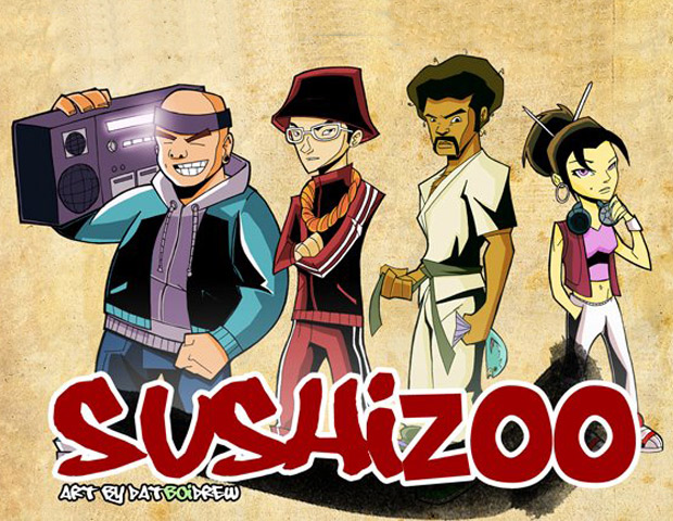 The characters from Augustin's upcoming game, SushiZoo.