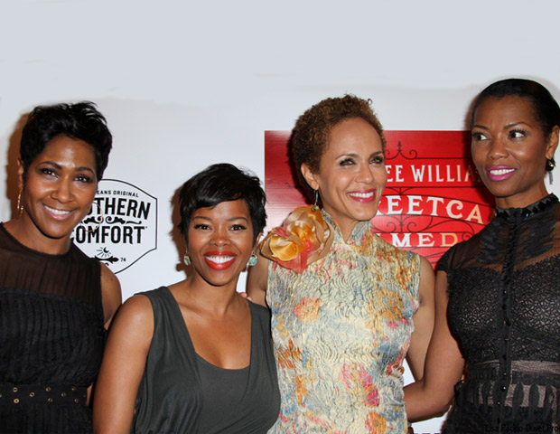 Nicole Ari Parker (second from right) poses with fellow actresses Terri J. Vaughn, Melinda Williams and Vanessa Williams on the red carpet.