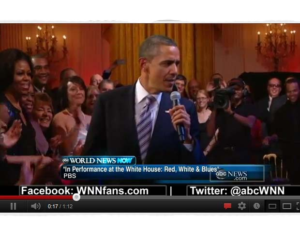 """Sweet Home Chicago: In February, Obama joined blues legend BB King and Mick Jagger at an event in Chicago for a rendition of """"Sweet Home Chicago."""" This was part of a Black History Month concert at the White House, where The East Room was transformed into an intimate blues club featuring performances by blues all-stars of the past, present and future. (View here.)"""