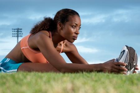 black woman exercising