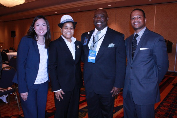 Black Enterprise co-hosted the Vision 20/20 Forum with Walmart, whose Chicagoland team members supported the event in masse. Pictured here from Walmart are Panelist Kaitlin Wolfe, Adrienne T. White, and Reginald Reese accompanied by Black Enterprise multimedia sales manager, Anthony Mootry.