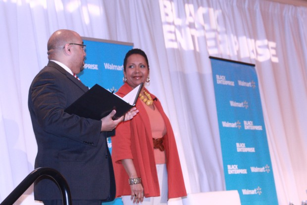 Black Enterprise's Editorial Director Alan Hughes, moderated the session entitled Navigating the Procurement Maze featuring Amy Hilliard, founder and CEO of the Comfort Cake Co.