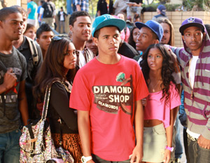 Mandela Van Peebles (in red) in a scene from We the Party