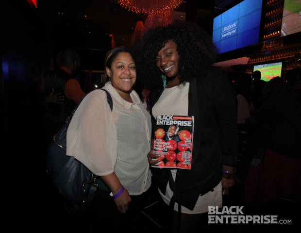 PR Circle's Erica Nailor and Chanelle Bogle show off an early copy of the May 2012 issue of Black Enterprise, which guests walked away with in their gift bags