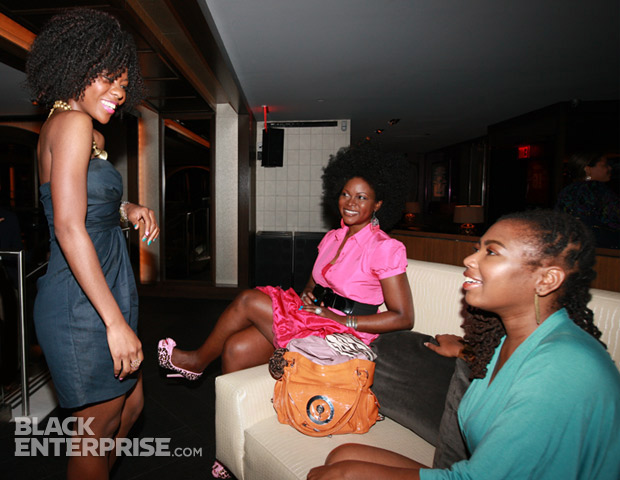 Patrice J. Williams holds court between takes with fellow Black Blogger Month 2012 honorees Abiola Abrams and Yoli Ouiya.