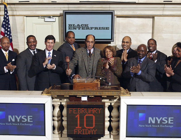 Barbara Graves is at her husband's side as Black Enterprise Publisher Earl Graves rings the closing bell of the New York Stock Exchange on February 10, 2006.