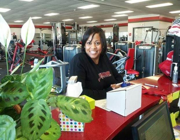 Charlice Noble-Jones at the front desk of Snap Gym