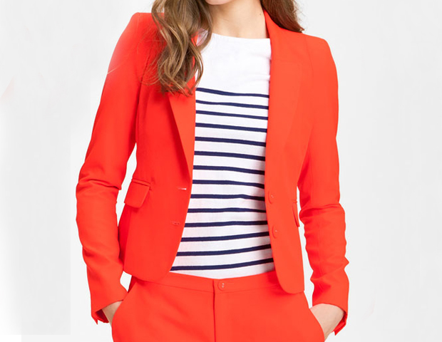 Neon: Many designers and celebs have an affinity for bright colors, so the neon trend is definitely a hot one. Add pops of color to your work wardrobe with vibrant pieces such as this Juicy Couture neon blazer ($278).