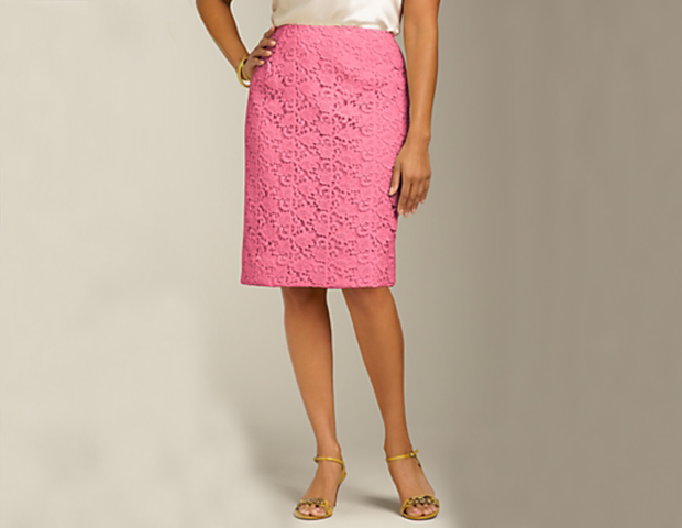 Lace: You can take a more conservative spin on the lace overlay trend with this lace pencil skirt from Talbots ($119). Pair it with a fitted blazer, or a flowy, feminine blouse (or both) to get that polished yet demure look in the office.