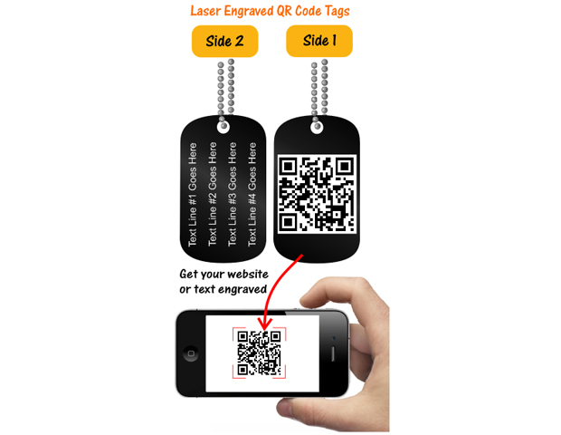YouEtch Laser Engraved QR Code Dog Tags ($20) 