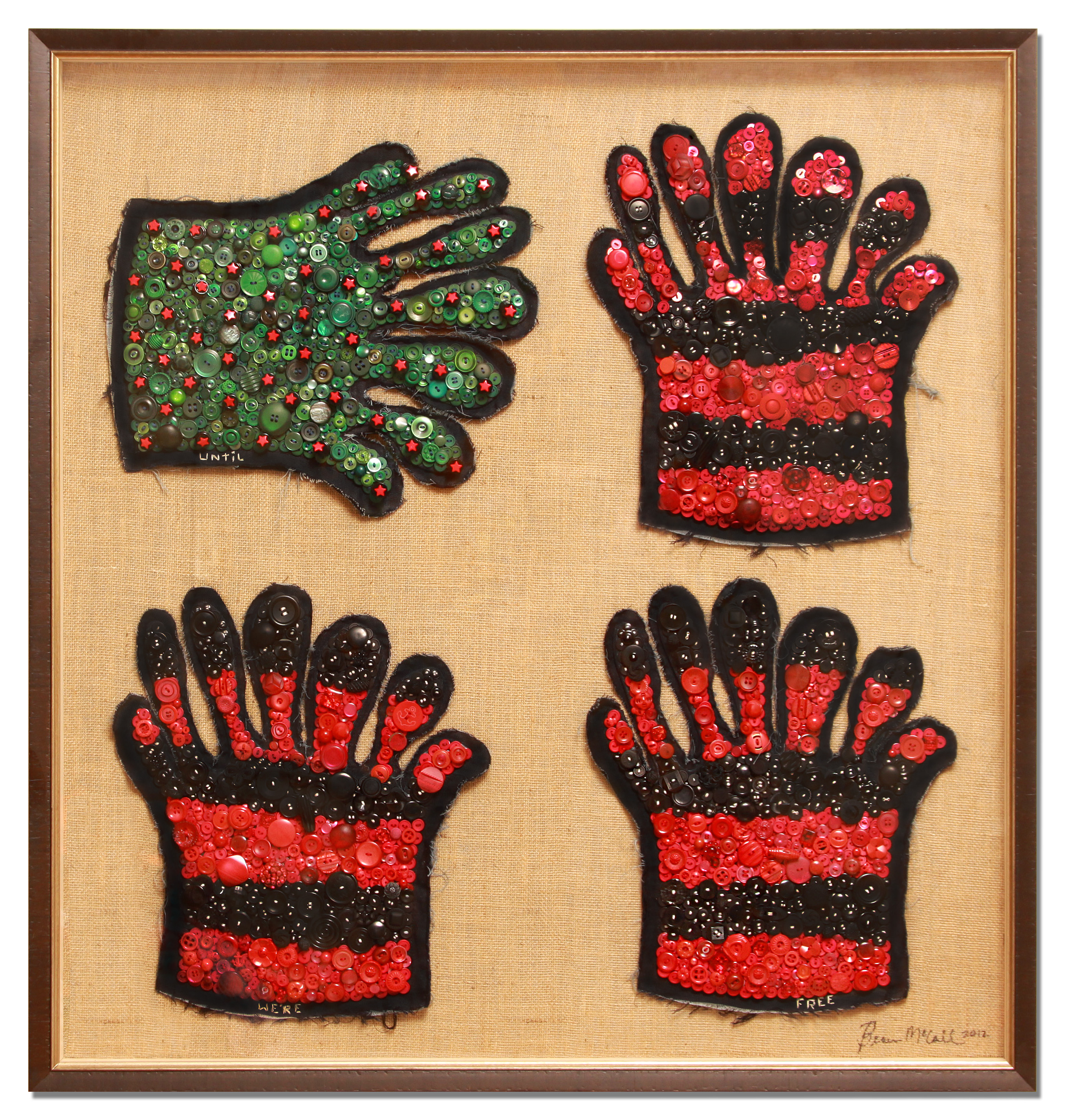 3 Beau McCall, Until We're Free, 2012. Buttons, glow in the dark thread, denim, Plexiglas and burlap, 40 x 40 in