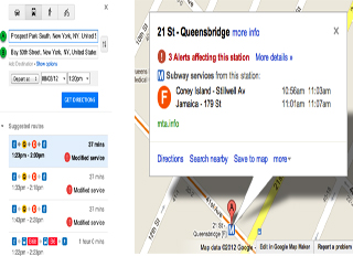 Google Maps Shows Service Alerts to New York City Subway Riders