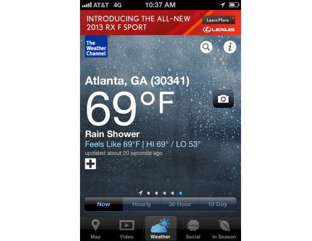Weather Channel App    If you're expecting the Weather Channel application to update automatically, providing you with an up-to-the-minute accurate forecast, you should think about checking your local newscast for that information instead. HuffPostTech doesn't advise you to use the app as your main source for an up-to-the-minute weather forecast.   Check out the rest of the list at HuffPost Tech…