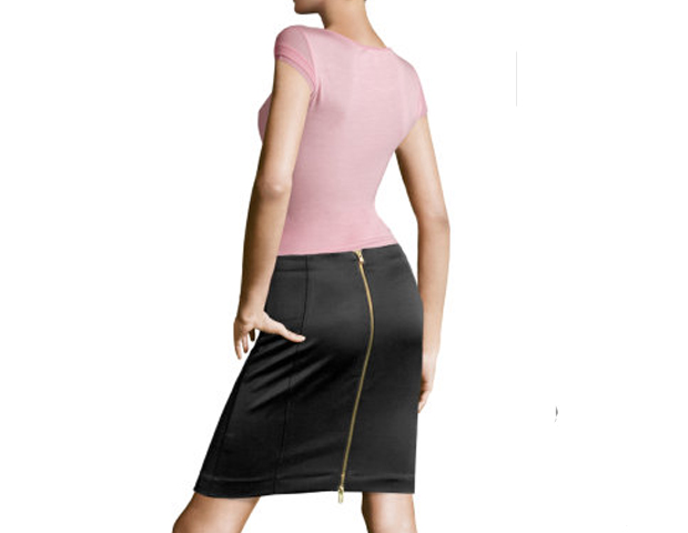 """FEMININE & FLIRTY   Campbell: """"It goes without saying that every woman needs a great dress skirt. A skirt is womanly and can be flirty or businesslike like this black skirt. Nowadays women do not wear many skirts or dresses, which makes a lot of them fall into a rut of dressing sloppily or like men."""""""