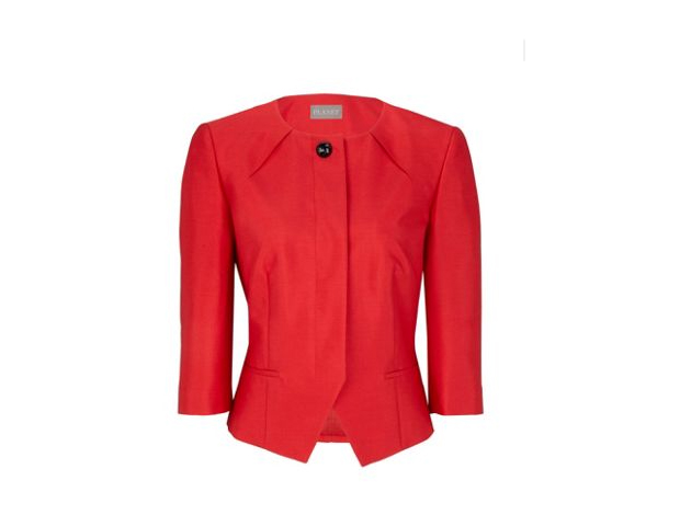 """POWER PLAY  Mozie: """"Nothing expresses confidence and style better than a strong statement piece. This red jacket is not only professional and comfortable, it is also trendy and chic. The classic one button detail gives the ensemble a timeless appeal and the red color keeps it fresh, young, and in style."""""""