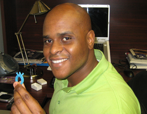 ZShock's Steve Alexis with a 3D printed wax prototype (Image: Source)