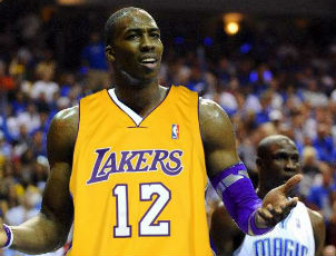 dwight howard sad lakers uniform