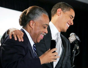 obama sharpton laughing
