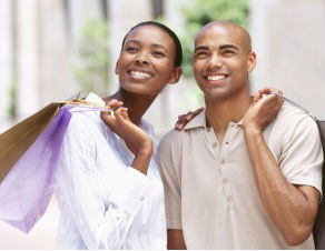 black couple shopping