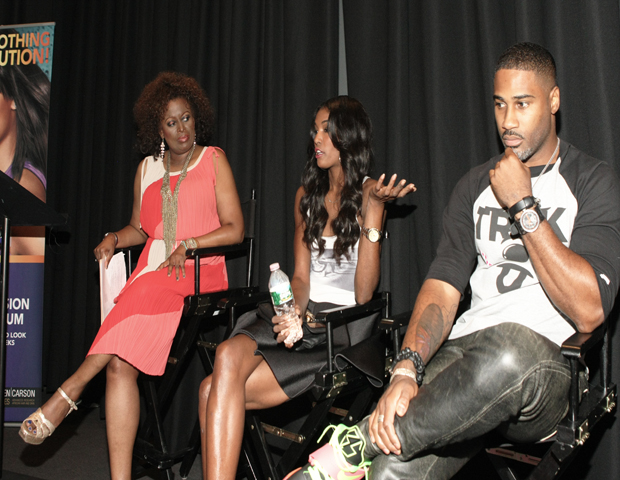 """On Mentorship: """"Alek Wek taught me how to be professional, also Naomi Campbell,"""" says Lopez, (pictured center). """"Bethann Hardison is also my fashion fairy godmother.""""  """"I've never been mentored by a hairstylist, but Mikki Taylor, she saw talent in me. She helped me develop my eye and professionalism,"""" says Campbell (pictured far right)."""