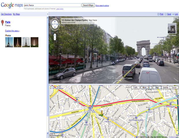 2007     The global company debuts Traffic feature in Google Maps to 30 U.S. cities, and Street View debuts in 5 additional cities in the states.