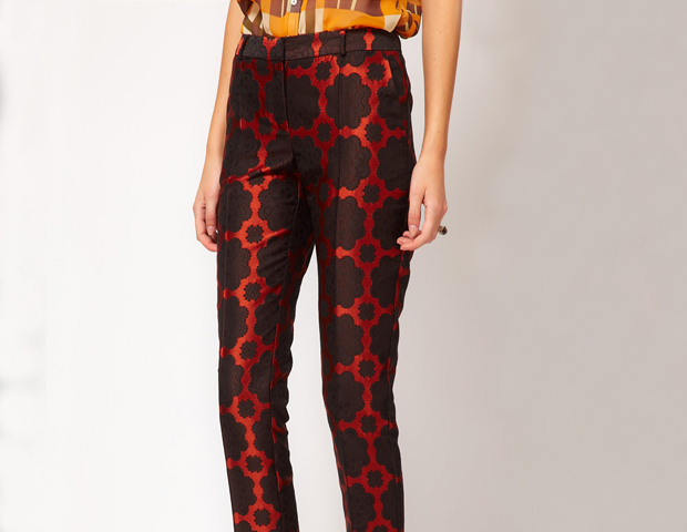 These are right on trend in the color of the season, oxblood, and would pair well with a black silk blouse to contrast with the print. Asos, $79.16