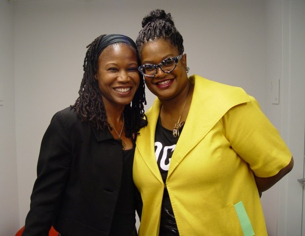 """Majora Carter (left), overwhelmed by the number of black women making an impact in tech, was brought to tears before her interview with tech entrepreneur Kathryn Finney (right) got off the ground. Carter discussed her passion for teaching young blacks how to """"participate in technology in a way that means something to our local community.""""  She recounted a story about a fight that broke out across the street from her office in the South Bronx. Everyone pulled out their cell phones and began to record the fight to post on YouTube. """"Is this the highest use of how we are using technology in our communities?"""" she asked. """" Wouldn't it be fabulous to have [Natalia Allen ] this beautiful brown girl to come to the South Bronx and talk to youth about the technology behind producing fashion. [She can show them that this is] not something that only the little white boys do. I want folks from my community to understand that they have the power to create something that didn't [exist] before."""""""