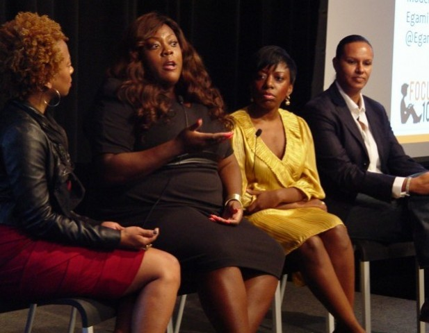 """In a session called The Disruptors: Founders Who Demolish the Status Quo, Monif Clarke (second from left), founder of MonifC Plus Sizes, gives this advice about Cashflow: """"Watch that FICO score! [Investors] look at your revenue, your profit, and your FICO sore. You can have the best product in the world but if you don't have a good business strategy you're in trouble. When you're solid with what you do people can't help but want to work with you."""""""