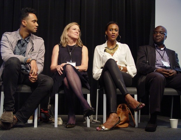 The symposium gave attendees an insiders look at why angel and venture capitalists invest in startups. Panelists discussed the elements of a good pitch including everything from the team, the pitch deck, the number of engaged users, and the size of the market that the company is starting.  Image shows Eghosa Omuogui, EchoVC; Lauren Maillian Bias, Gen Y Capital; Deborah Jackson, Women Innovate Mobile; and Brian Watson, Union Square Ventures