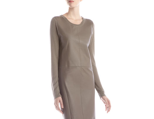 This leather-front, knit dress is an investment in the now and the later. Its a timeless piece that will last for years in your wardrobe, and the combo in leather and knit make it a great transitional piece into winter when worn with a pair of tights and knee high boots. Last Call Neiman Marcus, $118.30