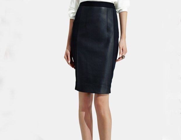 This is a faux leather skirt to love. The pencil cut is a wardrobe stable and in a classic black, it can add a nice flair to the traditional suited look. The Limited, $69.90