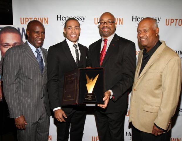 Len Burnett (Uptown Magazine), TJ Holmes, Rodney Williams (Hennessy ) and Guest