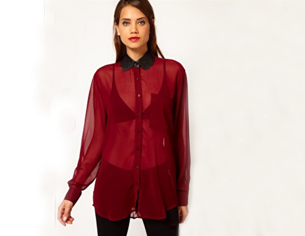 This blouse is will fall right into place in your wardobe. Put it on over a camisole and wear it with pretty much anything from skirts and pants to jeans, or layer it with your favorite classic sweaters and jackets. Asos, 49.25