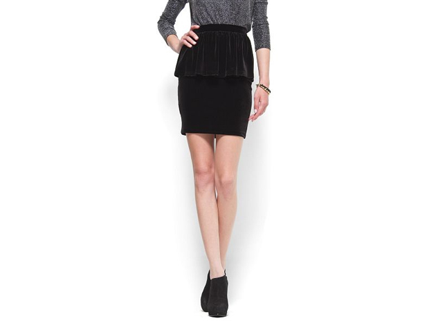This slim fit, peplum skirt in soft velvet create a powerful combo. Wear with a a silk or soft blouse for the ultimate look. Mango, $39.99