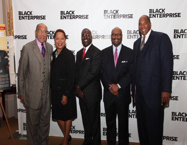 "From Left to Right: Earl G. Graves, Sr. (Charirman & Publisher), Cathy D. Ross (CFO, EVP & Director FedExExpress), Shannon A. Brown (SVP & Chief HR/Diversity Officer, FedEx Express), Matthew Thornton (SVP, U.S. Operations, FedEx Express), Earl ""Butch"" Graves (President & Chief Executive Officer)."