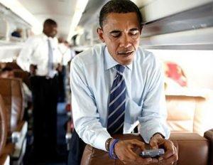 President Obama texting