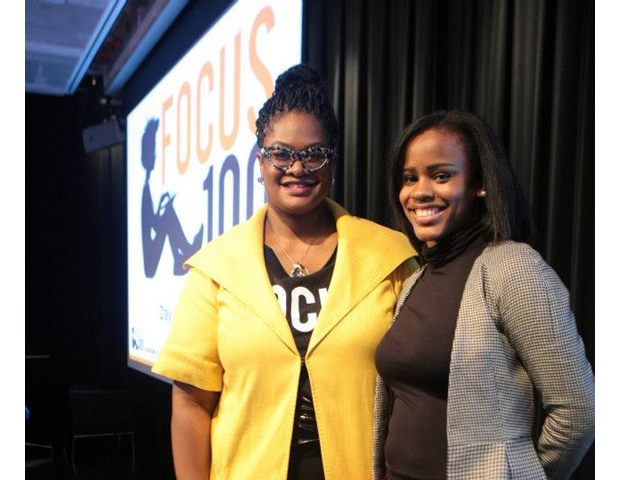 And the winner is: Zuhairah Scott Washington, founder of Kahnoodle.  (Left)FOCUS100 founder and organizer Kathryn Finney poses with Washington.