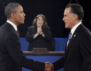 obama romney 2nd debate hand shake