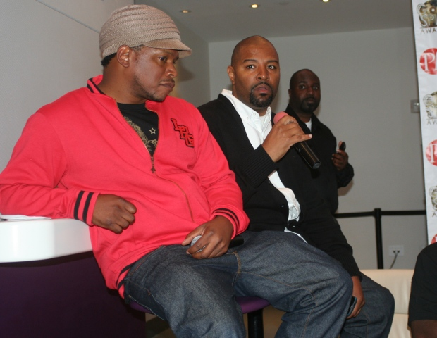 Sway Calloway (MTV), Shawn Prez (P.M.I./Global Spin Awards) and Soulgee McQueen (TRIO Entertainment/McQueen Media)