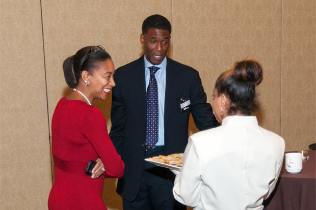 Educators, professionals and entrepreneurs networked during the event's reception