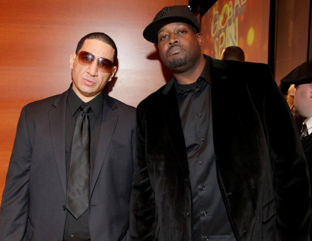 Hip Hop mainstays Kid Capri and Clark Kent acknowledge the cameras.
