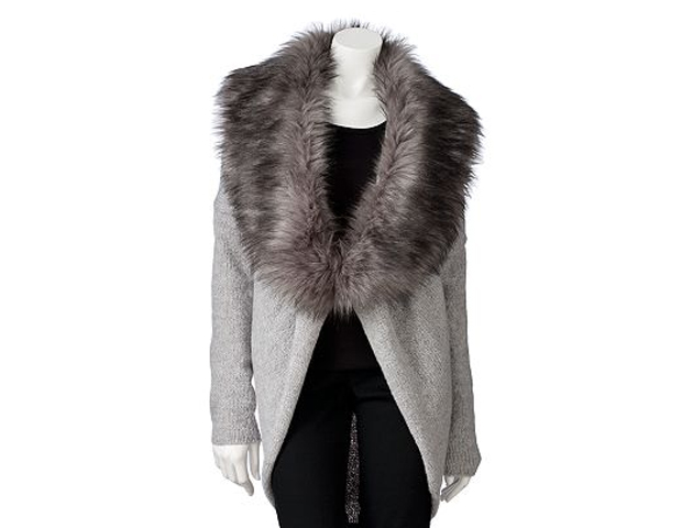Cardigan with Fur Collar: How great is the look and quality of this faux fur-accented cardigan. It has the right amount of volume and texture to keeping people guessing whether it's real or fake. Kohl's, $58.80