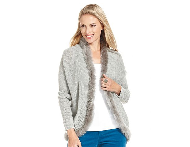 Fur-Accent Cardigan: The fur trim detail of this fur sweater will add subtle chicness to your look, making it easy to wear just as you would any other cardigan.