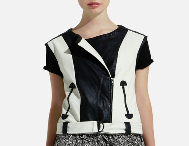 Faux Leather Vest: What's not to love about this vest, its on trend in more ways than one with the motorcycle cut, faux leather and color block. On sale at 25 dollars, it's a no brainers when worn like pictured. The Limited, $24.99