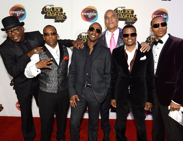 Lifetime Achievement Award recipients New Edition along with EVP and General Manager of Centric, Paxton Baker, arrive at the Soul Train Awards.