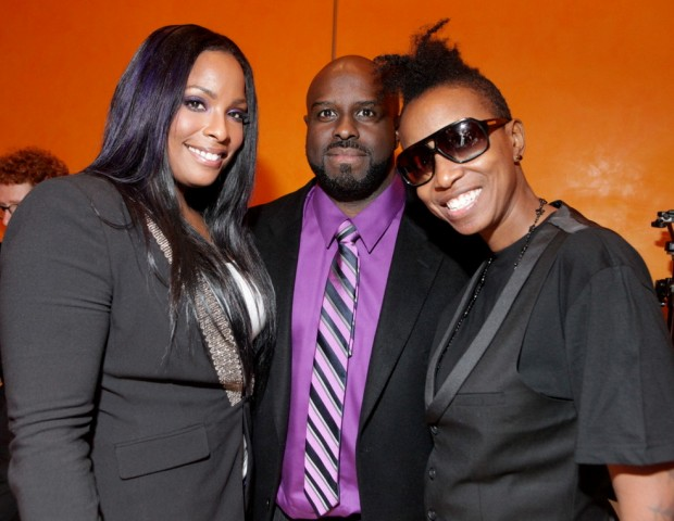 Salt-N-Pepa DJ, Spinderella, Funkmaster Flex (Hot 97) and Jazzy Joyce ham it up for the cameras at The Global Spin Awards.