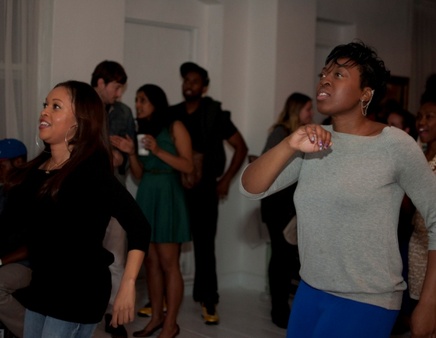 Marketing exec Aura Harewood and media personality Eb The Celeb bust a move while playing Hip Hop Dance Experience.